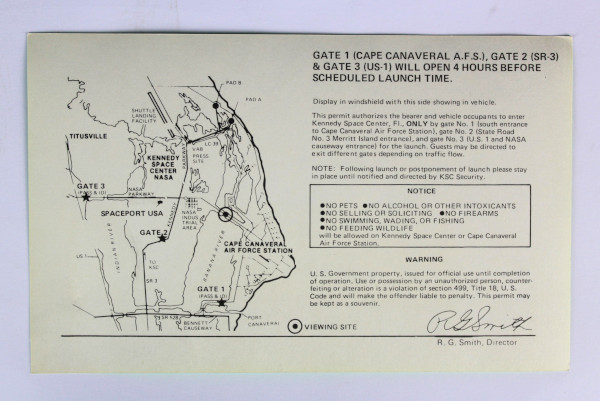 image NASA causeway vehicle permit - back