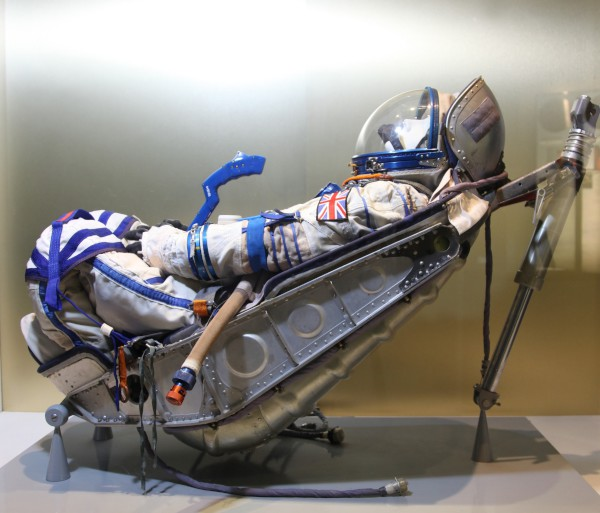 image Kazbek-UM Shock Absorbing Couch, as used by Helen Sharman in 1991. The Sokol KV-2 Spacesuit is Helen's traning suit, identical to the one she wore for her historic mission