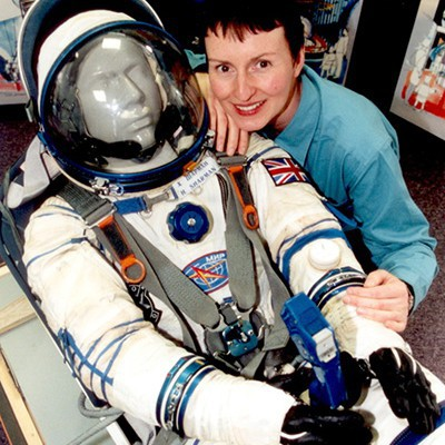 image Sokol KV-2 Rescue Spacesuit with Helen Sharman before installation at the National Space Centre