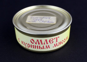 Russian Space Food – Small Tin of Scrambled Eggs with Chicken