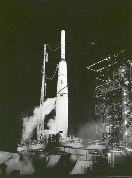 image Thor-Able I with the Pioneer I spacecraft atop, prior to launch at Eastern Test Range at what is now Kennedy Space Center - Credit: NASA