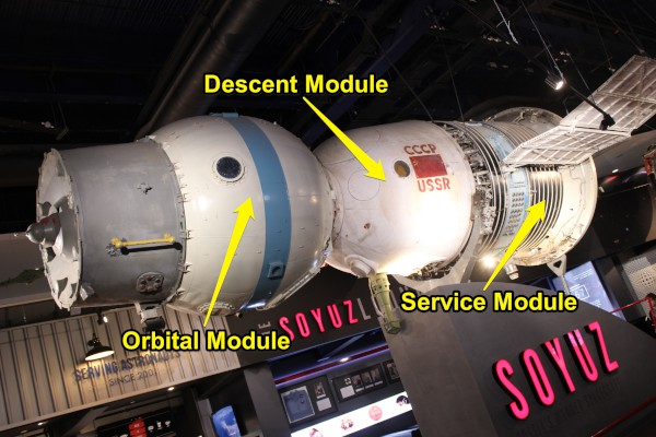 image Soyuz 7K-OK Spacecraft - with labels to show the three main sections