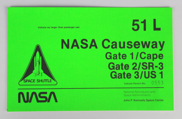 image NASA causeway vehicle permit - front