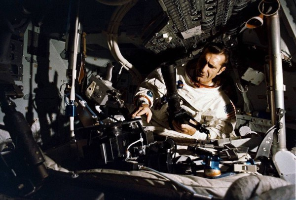image Dick Gordon inside the Apollo Command Module simulator at Kennedy Space Center - Credit: NASA