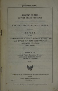 U.S. House of Representatives Report 'Review of the Soviet Space Program'