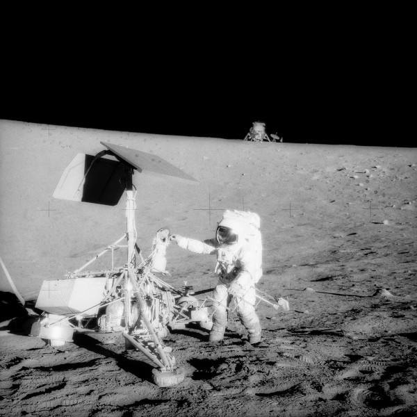 image Apollo 12 Commander Pete Conrad examines Surveyor 3 on the Moon - Credit: NASA