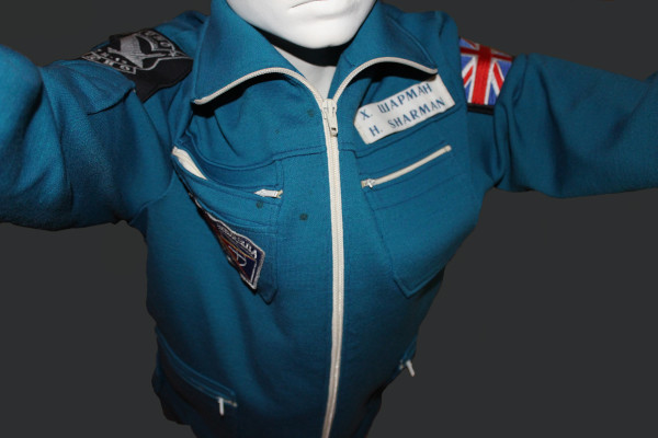 image PK-14 Cosmonaut Flightsuit used by Helen Sharman - chocolate stains acquired whilst in space aboard Mir. Suit on loan to the National Space Centre courtesy of Helen Sharman