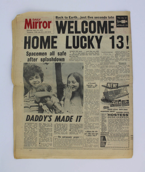 image Daily Mirror 18 April 1970 - Back Page