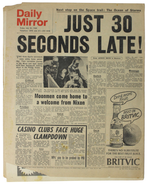 image Daily Mirror July 25 1969 (back page)