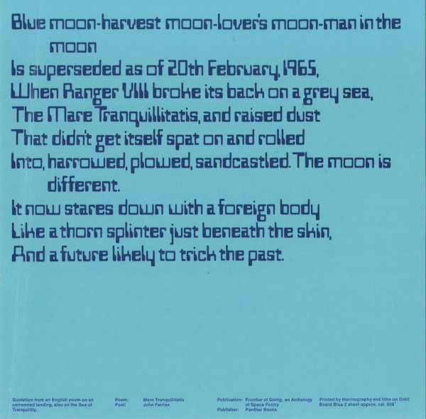 image A quotation from an English poem on an unmanned landing, also on the Sea of Tranquillity printed on a square blue card