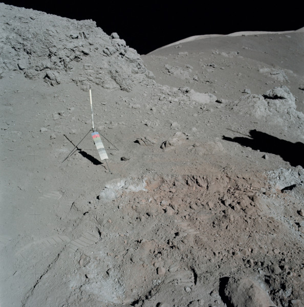 image NASA photograph AS17-137-20990. Moon rock sample 74255 was taken from the large fractured boulder near the top of the picture - Credit: NASA