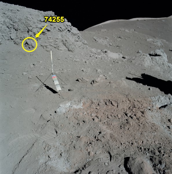 image Area where Moon Rock sample 74255 was collected from has been highlighted in this image - Credit: NASA