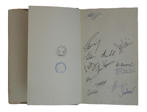 image Helen Sharman's spaceflown signed copy of Yuri Gagarin's autobiography - Helen Sharman and Tim Peake's crew mates have added their signatures