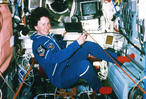 image Helen Sharman aboard the Mir space station - Credit: SpaceFacts