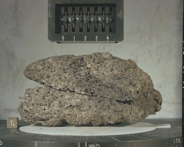 image Moon Rock sample 74255 before being broken up for research. The piece on display at the National Space Centre was originally part of this larger rock - Credit: NASA
