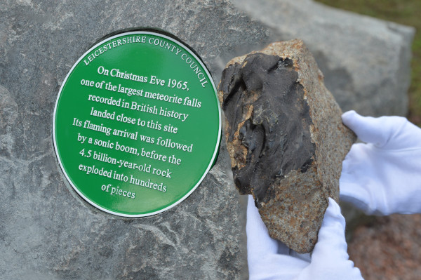 image The Barwell meteorite sample being returned to the village to mark the addition of a Green Plaque commemorating the fall - Credit: Leicestershire County Council
