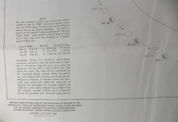 image Apollo 11 Translunar Chart - detail