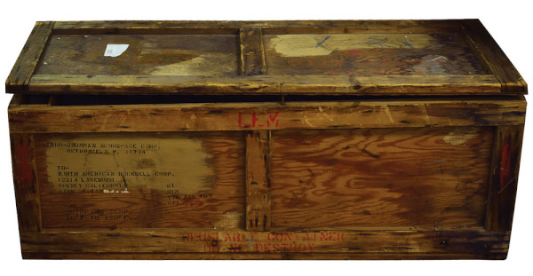 image Lunar Module Reaction Control System Oxidizer Tank Shipping Crate - note the LEM (Lunar Excursion Module) label