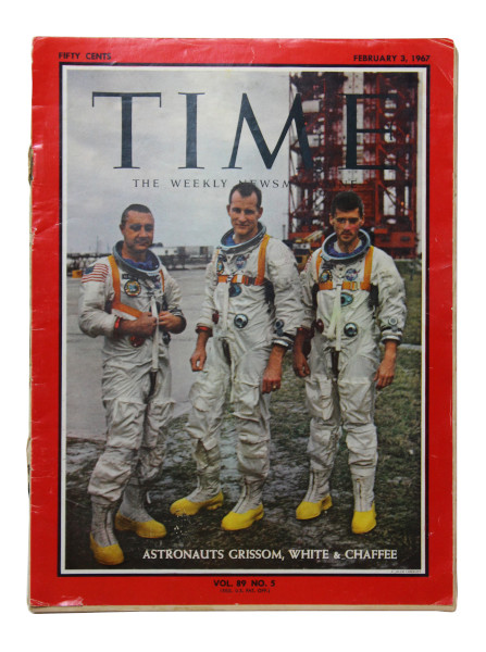 image Time Magazine 3 February 1967 -  Front cover: Apollo 1 astronauts, Gus Grissom, Ed White and Roger Chaffee, standing in front of Launch Pad 34