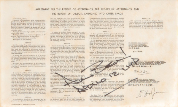 image Flown Space Treaty Carried on Apollo 12, signed by Alan Bean