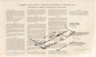 Flown Space Treaty Carried on Apollo 12, Signed by Alan Bean