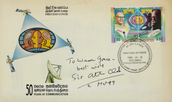 image First Day Cover Signed by Arthur C Clarke (front)