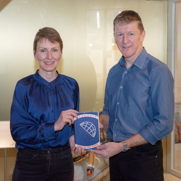 image Helen Sharman and Tim Peake presenting the book at the National Space Centre - Credit: National Space Centre