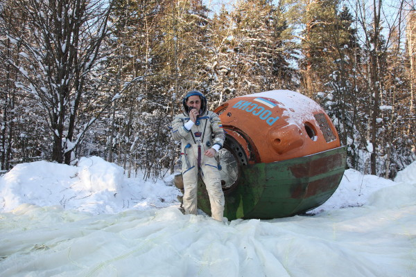 image Winter survival training. The cosmonaut is still wearing a Sokol KV-2 spacesuit, but Forel hydrosuit and TZK-14 cold weather suit are included in the survival kit provided - Credit: Gagarin Research & Test Cosmonaut Training Center