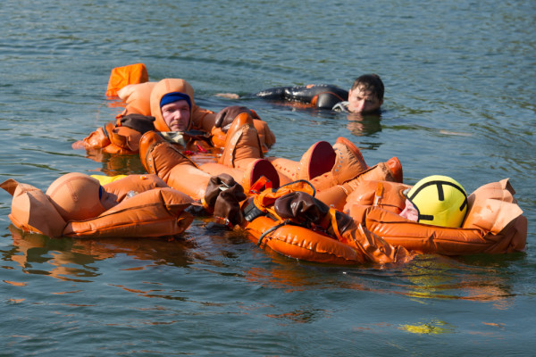 image Cosmonauts undergoing sea-survival training in modern-day Forel hydrosuits - Credit: Gagarin Research & Test Cosmonaut Training Center