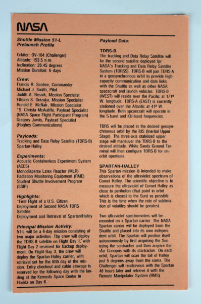 image Shuttle Mission 51-L Prelaunch Profile (coral)