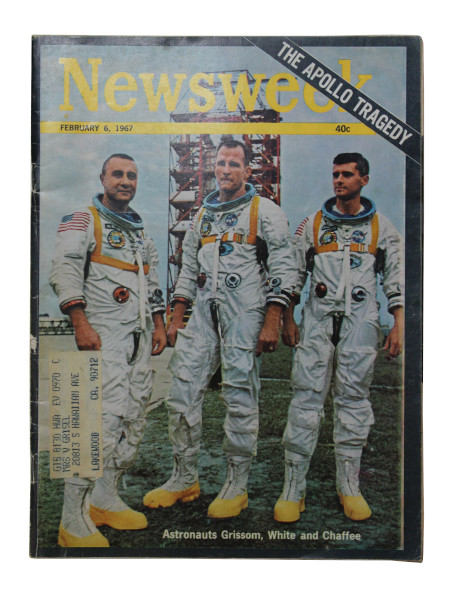 image Newsweek Magazine 6 February 1967 - Front cover: Apollo 1 astronauts, Gus Grissom, Ed White and Roger Chaffee, standing in front of Launch Pad 34
