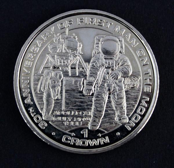 image Isle Of Man 30th Anniversary Apollo 11 One Crown Coin