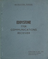 Instruction Manual for Eddystone VHF Communications Receiver 770R