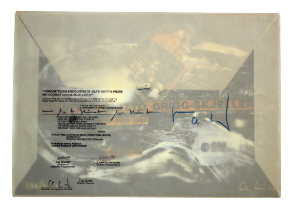 image Emvelope signed by team members who worked on the project